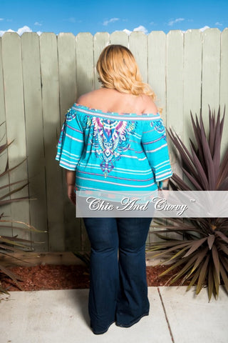 New Plus Size Tribal Off The Shoulder Top In Turquoise Multi Color