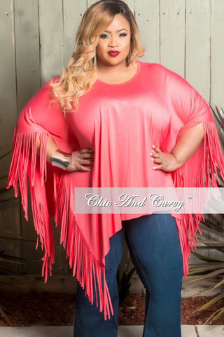 Final Sale Plus Size Flowing Top with Shredded Ends in Coral