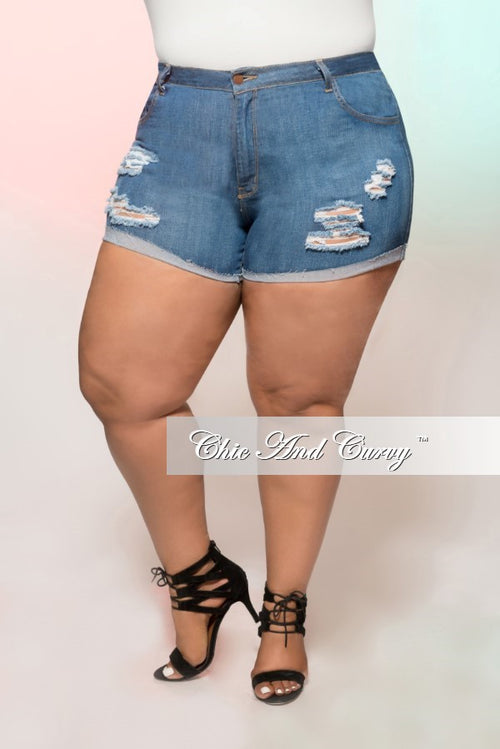 Final Sale Plus Size Denim Shorts with Ripped Front in Medium Blue
