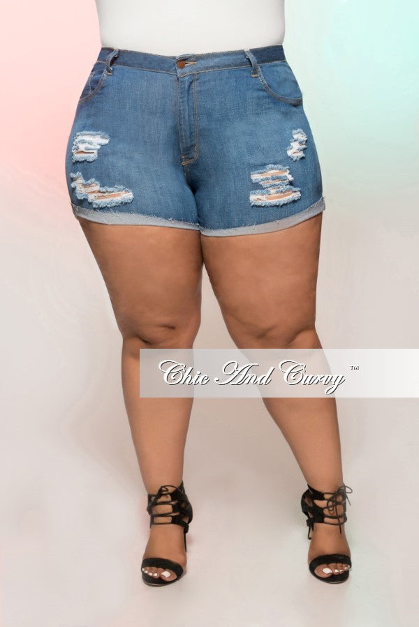 New Plus Size Denim Shorts with Ripped Front in Medium Blue
