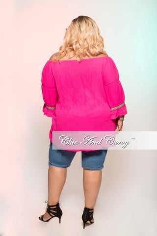 New Sale Plus Size Top in Fuchsia with Mosiac Multi Color Details & Puff Balls