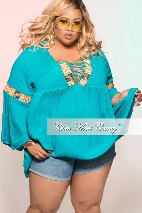New Plus Size Bohemian Top with Bell Bottom Sleeves in Turquoise