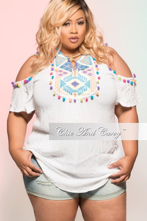 Final Sale Plus Size Top in White with Mosaic Multi Color Details