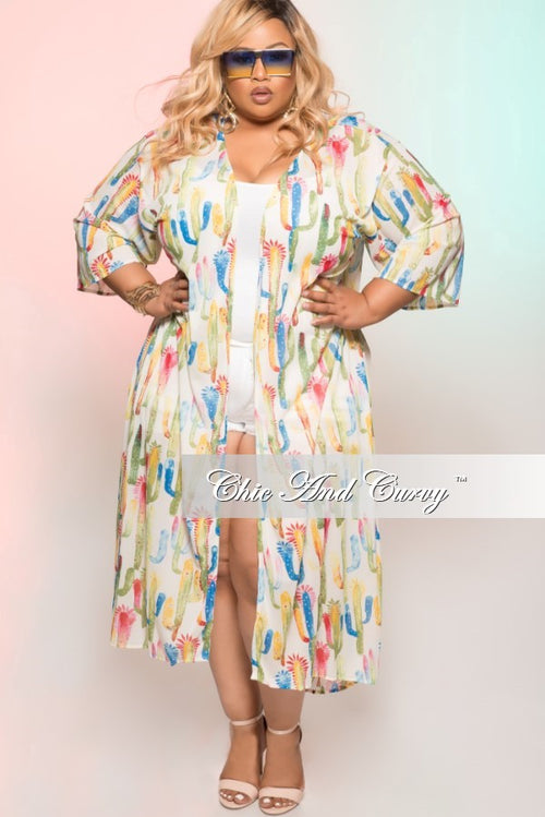 Final Sale  Plus Size Multi- Colored Kimono