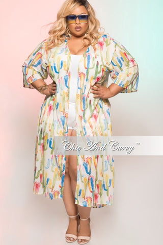 Final Sale Plus Size 3 Piece Poolside Playsuit Faux Wrap Crop Top with High Waist Bottom and Matching Coat in Blue, White and Green