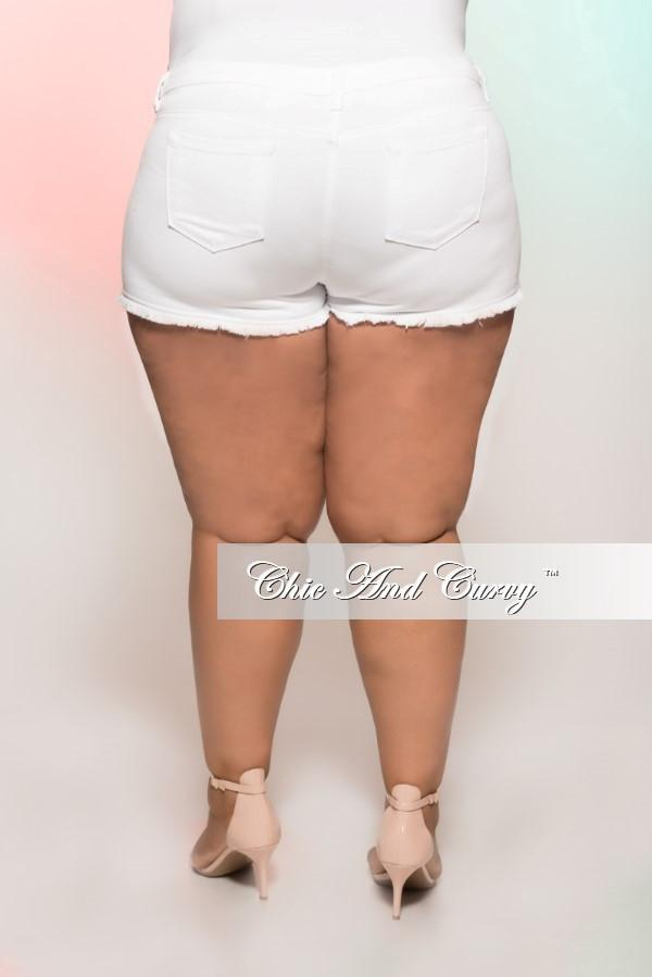 Final Sale Plus Size Denim Shorts with Ripped Front in White
