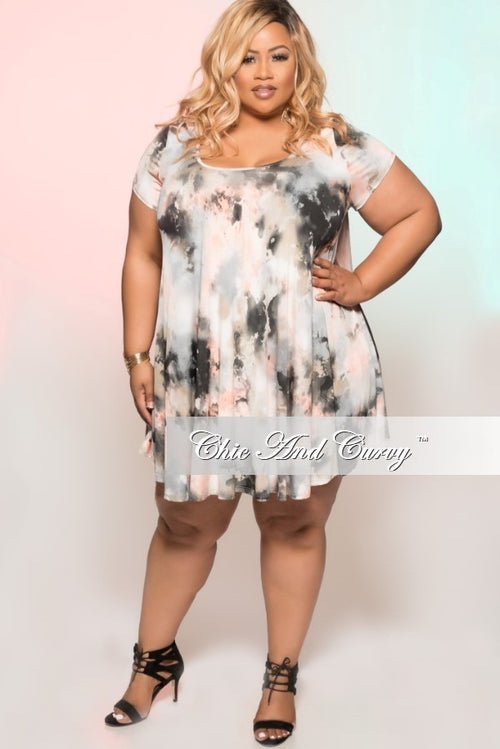 Final Sale Plus Size Short Sleeve Grey Floral Tunic Babydoll Swing Dress