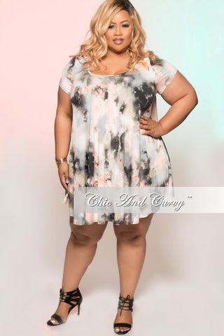 New Plus Size Short Sleeve Grey Floral Tunic Babydoll Swing Dress