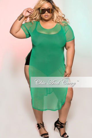 Final Sale Plus Size Short Sleeve Sheer Cover Up in Green