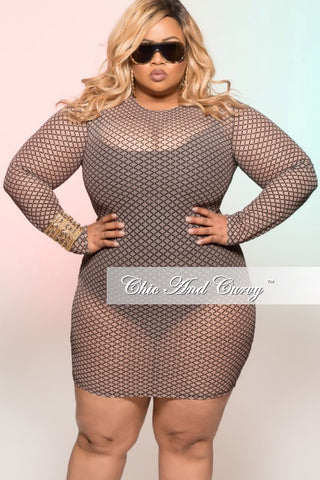 Final Sale Plus Size Mesh Tulip Halter Cover-up / Dress in White