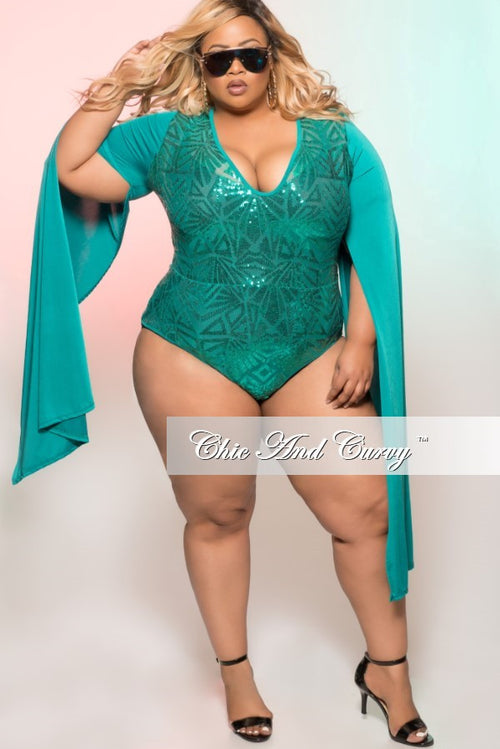 Final Sale Plus Size Sheer Sequin Leotard with Cape Sleeves in Aqua Green