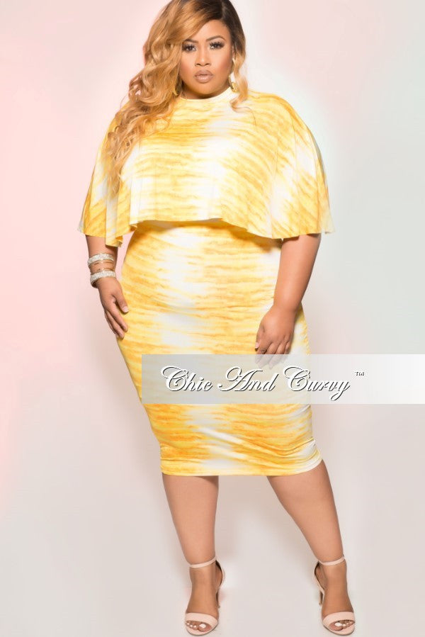 New Plus Size 2 Piece Cape Top & Skirt Set in Yellow & White Tie Dye