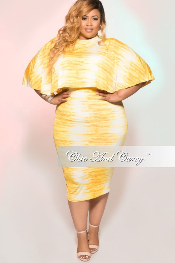 35% Off Sale - Final Sale Plus Size 2 Piece Cape Top & Skirt Set in Yellow & White Tie Dye