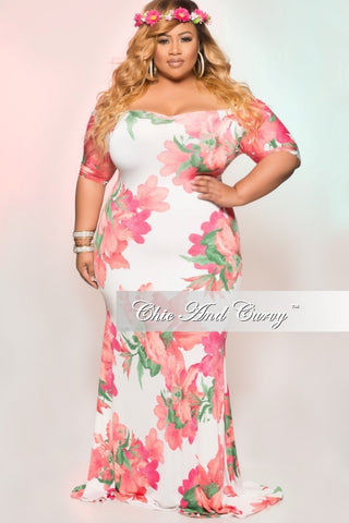 Final Sale Plus Size BodyCon Off the Shoulder Floral Gown in White, Pink & Green
