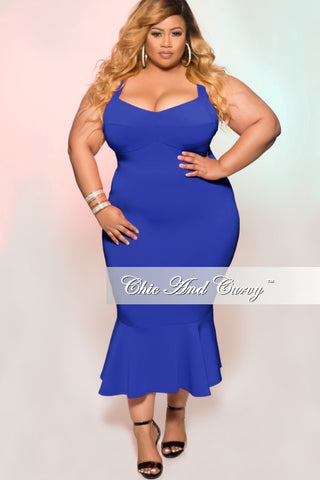 New Plus Size Sleeveless Dress with Ruffle Bottom in Royal Blue