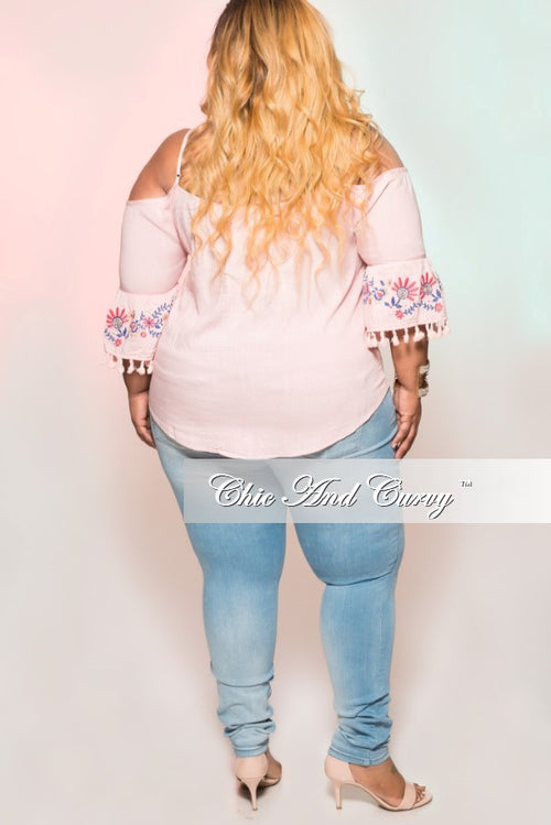 New Plus Size Off the Shoulder Top with Bell Bottom Fringe Sleeve in Pink