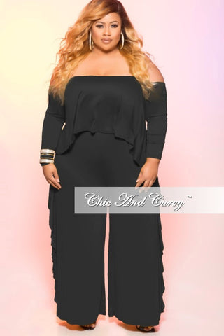 New Plus Size Cold Shoulder Jumpsuit with Ruffle Side in Black