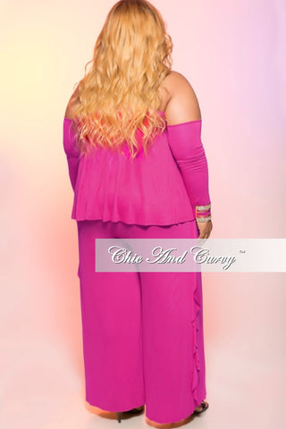New Plus Size Cold Shoulder Jumpsuit with Ruffle Side in Magenta