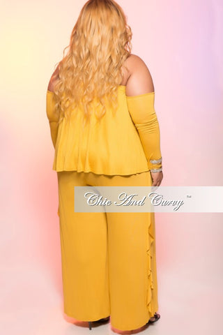 New Plus Size Cold Shoulder Jumpsuit with Ruffle Side in Mustard