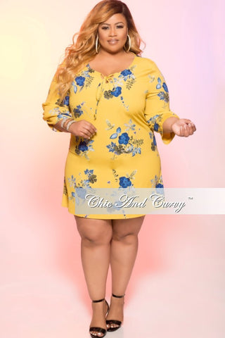 New Plus Size 3/4 Sleeve Knee Length Dress in Mustard and Blue Floral Print
