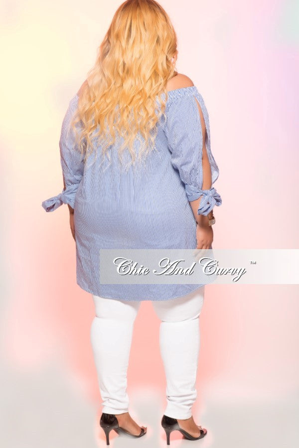 New Plus Size Stripped Off the Shoulder Top with Tie Up Sleeves in White and Blue