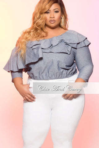 New Plus Size Off the Shoulder Ruffle Top in Light Denim