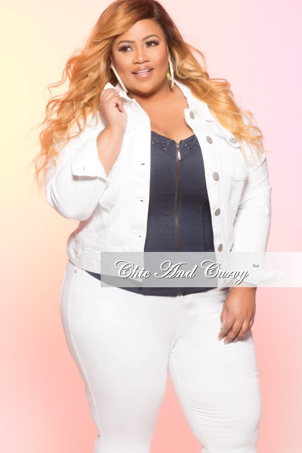 6086ce3e4ce Final Sale Plus Size Denim Jacket in White – Chic And Curvy