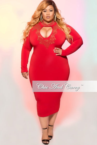 35% Off Sale - Final Sale  Plus Size BodyCon Dress with Keyhole and Gold Embellishments in Red