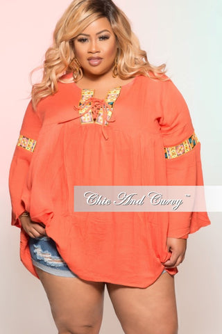 New Plus Size Bohemian Top with Bell Bottom Sleeves in Coral