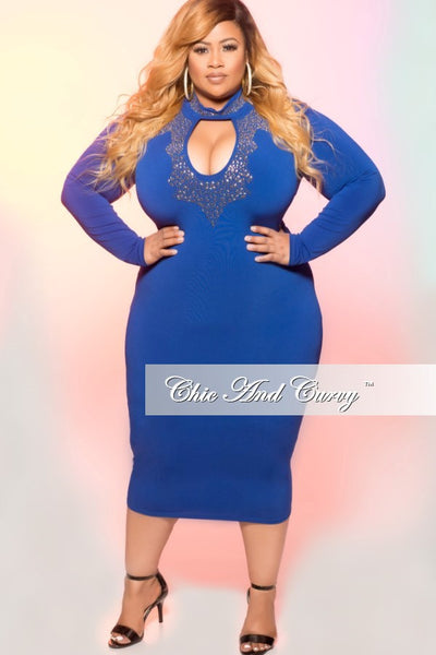 35% Off Sale - Final Sale  Plus Size BodyCon Dress with Keyhole and Gold Embellishments in Royal Blue