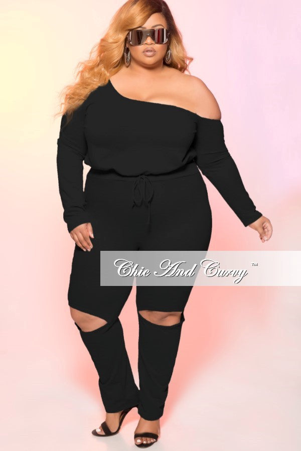 New Plus Size 2 Piece Off the Shoulder Jogger Suit with Open Knee in Black