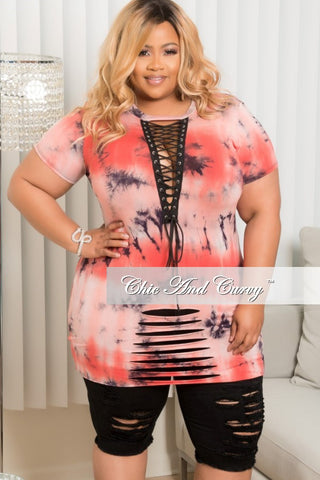 New Plus Size Lace-Up Tie Dye Shirt in Coral, Grey and Black