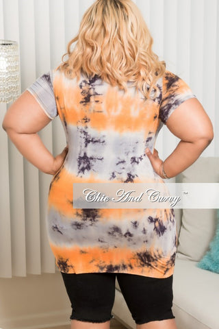 New Plus Size Lace-Up Tie Dye Shirt in Orange, Grey and Black