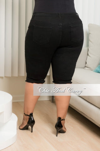 New Plus Size Ripped Bermuda Shorts in Black