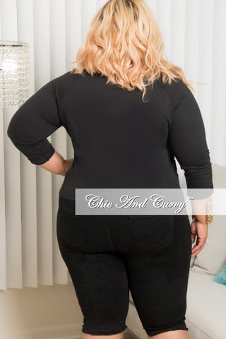 New Plus Size Embroidered Floral Top in Black