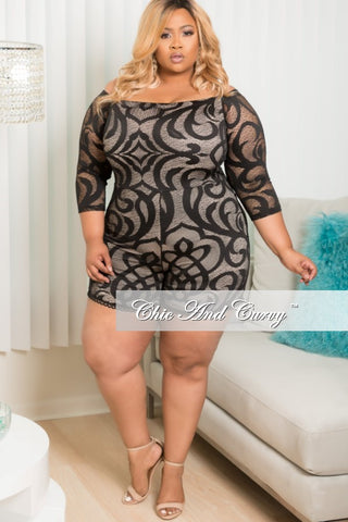 New Plus Size Off the Shoulder Romper in Black and Tan