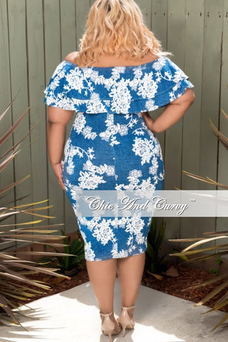 New Plus Size Floral Off the Shoulder Ruffle BodyCon Dress in Denim and White