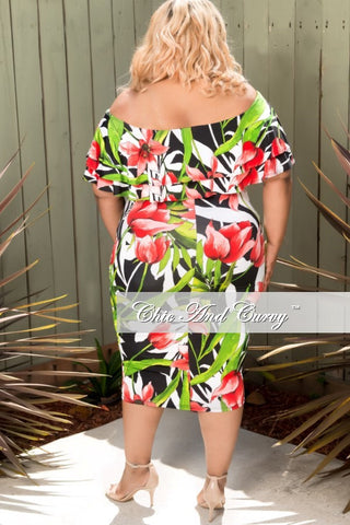 New Plus Size Off the Shoulder Ruffle BodyCon Dress in Black, Red and Green Floral Print