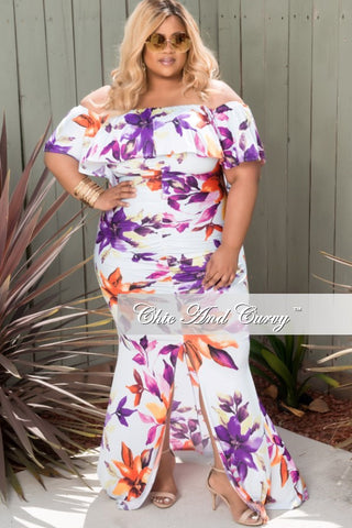 New Plus Size Off the Shoulder Gown with Front Split in Purple, Orange and Gold