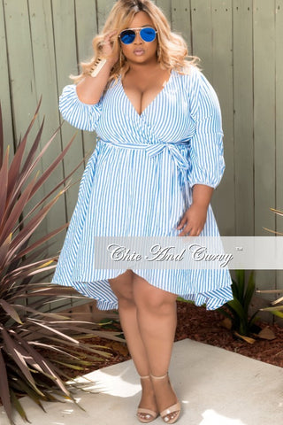 New Plus Size Striped Faux Wrap Dress with Front Slit in Blue & White