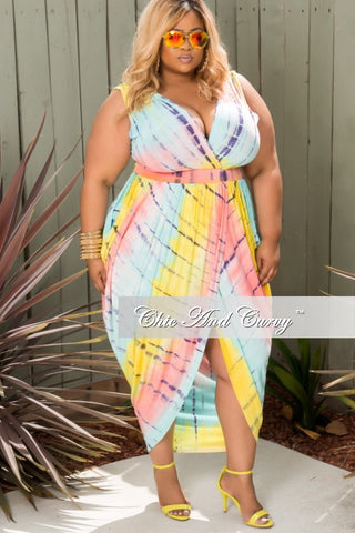 New Plus Size Sleeveless Harem Tie Dye Dress with Front Slit in Pink, Yellow and Blue