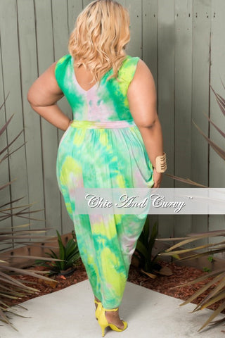 New Plus Size Sleeveless Harem Tie Dye Dress with Front Slit in Green, Yellow and Pink