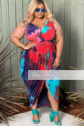 New Plus Size Sleeveless Harem Tie Dye Dress with Front Slit in Turquoise, Red and Purple