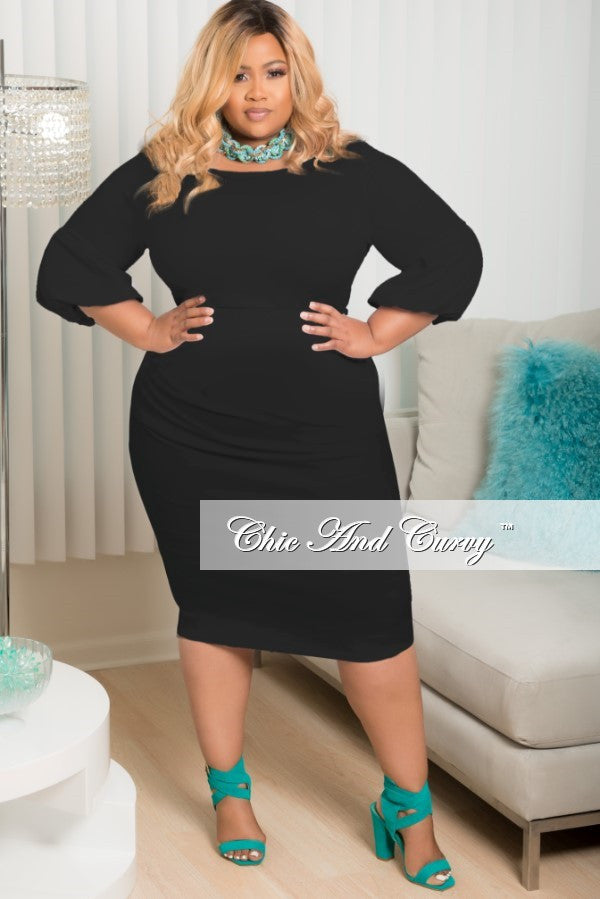New Plus Size BodyCon with Puffy Sleeves in Black