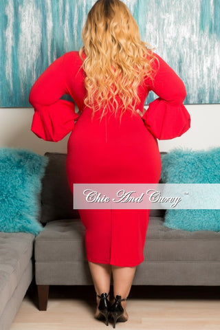 New Plus Size BodyCon Dress with Puffy Sleeves in Red