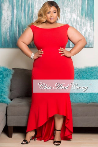 New Plus Size Off the Shoulder Long High Low Gown in Red