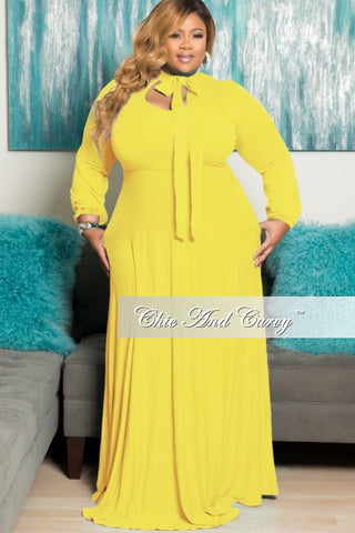 New Plus Size Long Dress with Long Sleeve with Neck Bow Tie in Yellow