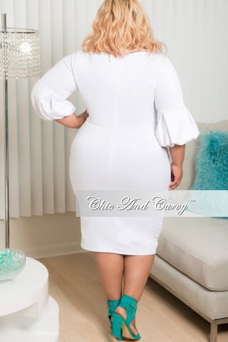 Final Sale Plus Size BodyCon with Puffy Sleeves in White