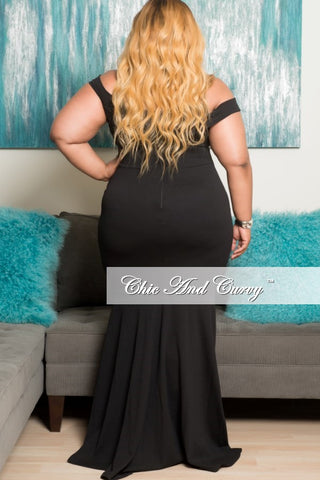 New Plus Size Off the Shoulder Gown with Floral Details in Black
