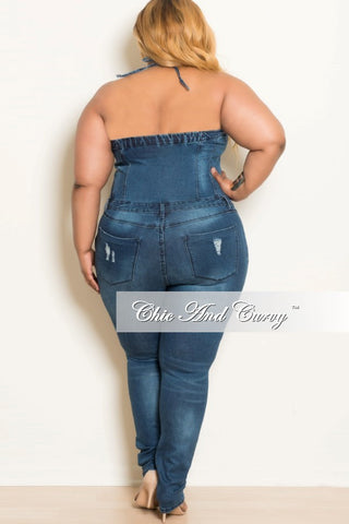 New Plus Size Halter Top Jumpsuit with Side Zipper in Denim